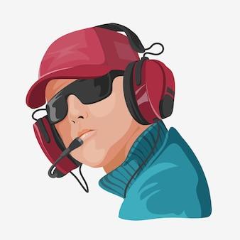 Een man in koptelefoon en bril, luisteren naar muziek of radio