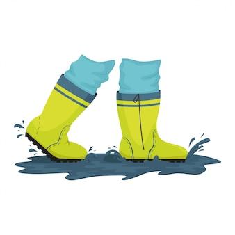 Een man in rubberen laarzen loopt door plassen. regenachtig weer. illustratie.