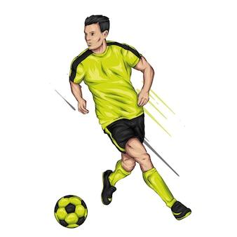 Een man in voetbaluniform en met een bal. voetballer.