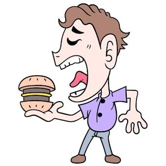 Een man is in de stemming voor een grote hamburger, vectorillustratieart. doodle pictogram afbeelding kawaii.