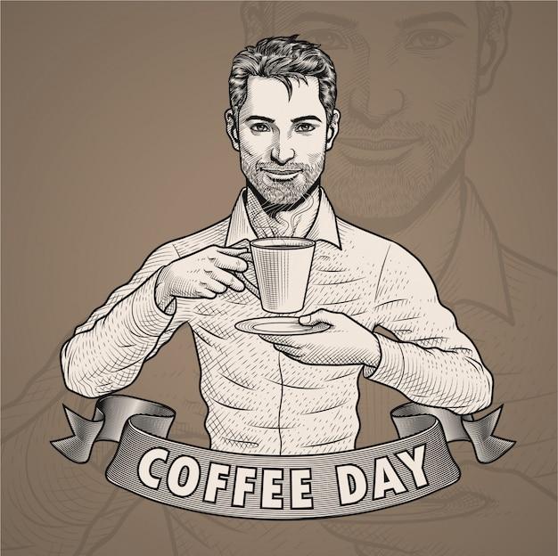 Een man koffie drinken in broedeieren gravure illustratie