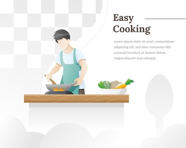 Een man kookt voedsel in de keuken