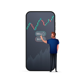 Een man koopt via de telefoon aandelen of valuta op de beurs.