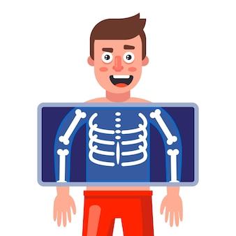 Een man krijgt een röntgenfoto om ziekten op te sporen. platte vectorillustratie.