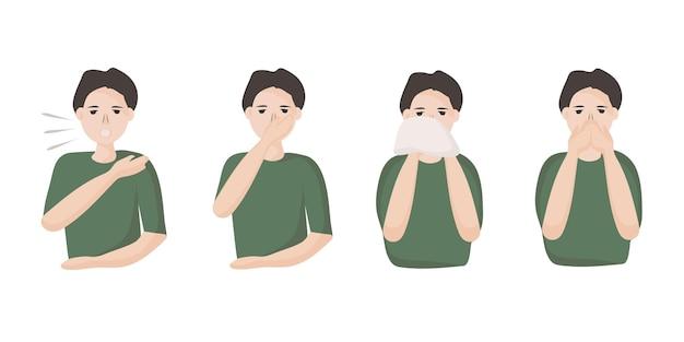 Een man laat je zien hoe je moet niezen en hoesten om verspreiding van virussen en infecties te voorkomen