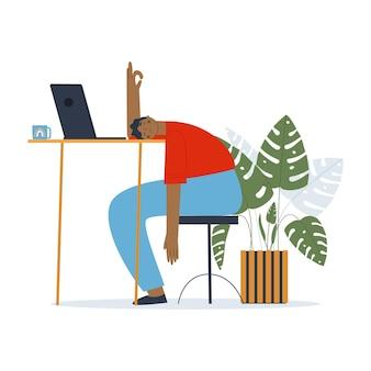 Een man ligt met zijn gezicht naar beneden op de tafel een student die het studeren beu is een manager onder stress