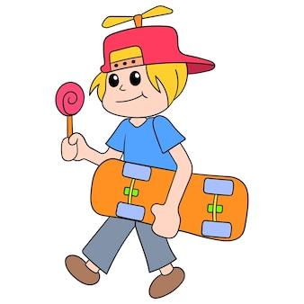 Een man loopt met een skateboard met een zoete snoeplolly, vectorillustratieart. doodle pictogram afbeelding kawaii.