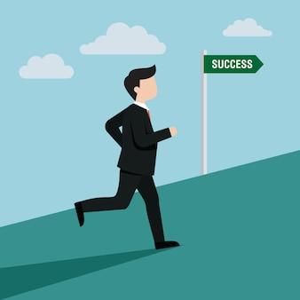 Een man loopt naar de illustratie van succes