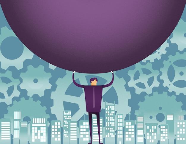 Een man met een grote bal met versnelling
