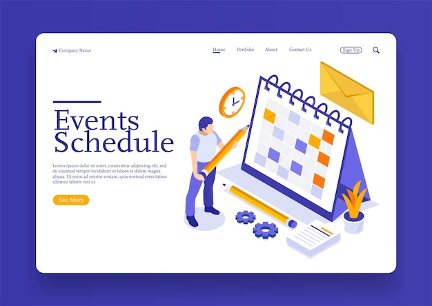 Een man met een isometrisch online bedrijfsschema, planning, nieuwsherinnering en evenementenconcept Premium Vector