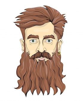 Een man met een lange baard en oorbel. portret illustratie, op wit.