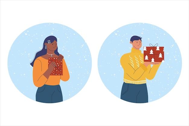 Een man met een nieuwjaarscadeau en een vrouw met een nieuwjaarscadeau