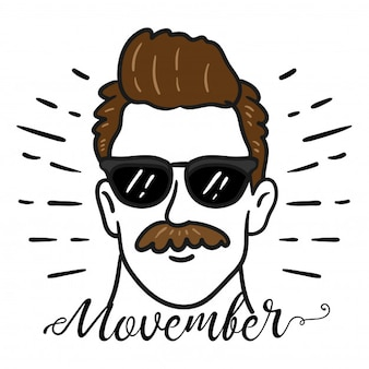Een man met een snor, het movember-dagconcept.