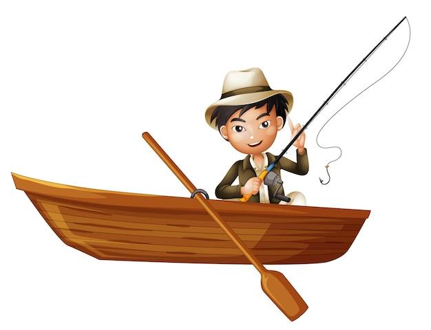 Een man met een staaf op een houten boot