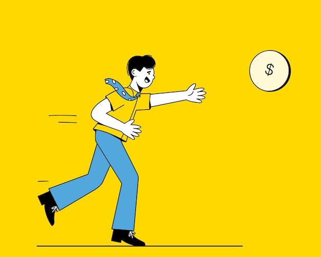 Een man met een stropdas rent naar een gouden munt. een zakenman die winst nastreeft. het concept van een carrière en het nastreven van geld.