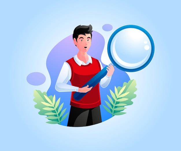 Een man met een vergrootglas