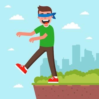 Een man met gesloten ogen kan in de vergetelheid raken. stap in het onbekende.