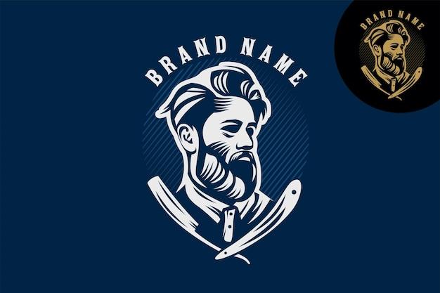Een man met kapsel en baard stencilillustratie