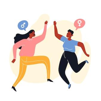 Een man met lang haar en een meisje met kort haar die een high five geven