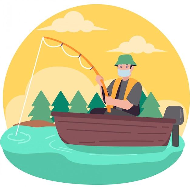 Een man met medische masker alleen vissen op de boot