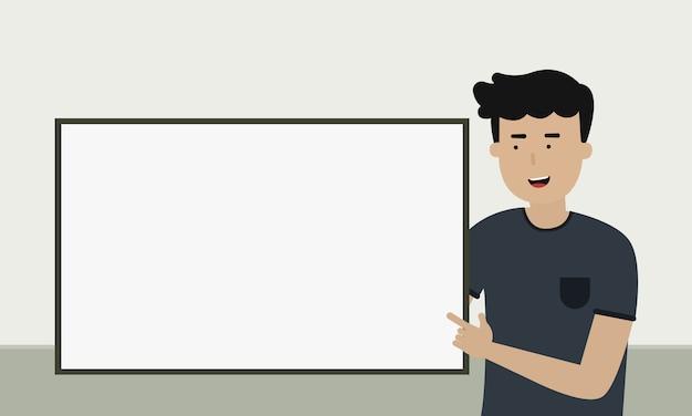 Een man met presentatiebord