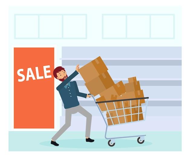 Een man met veel spullen in de winkelwagen. een man koopt teveel spullen en probeert ze allemaal te pakken. uitverkoop. zwarte vrijdag verkoop.