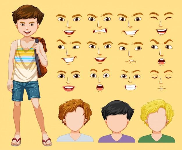 Een man met verschillende gezichtsuitdrukkingen