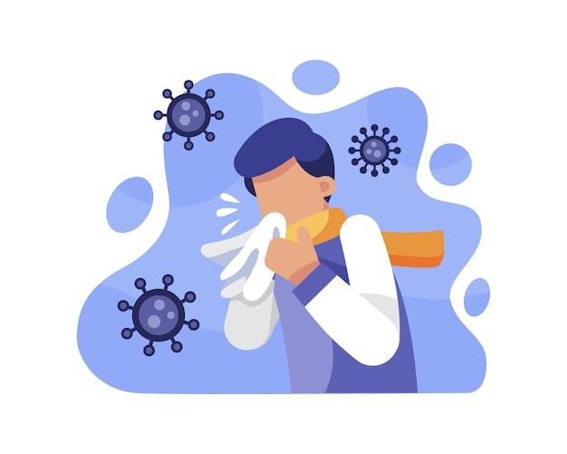 Een man niest toont symptomen van coronavirus