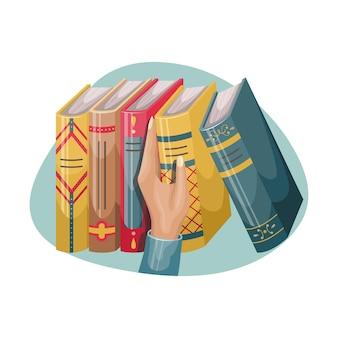 Een man pakt een boek van een boekenplank. boeken met kaften en ruggen in retrostijl.