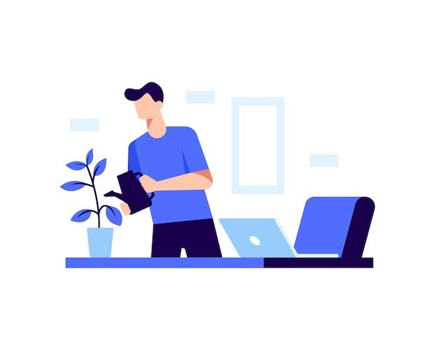 Een man planten water geven in zijn kantoor thuis