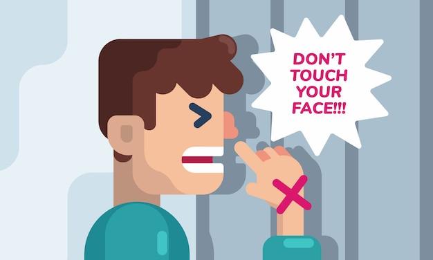Een man probeert zijn gezicht aan te raken. het aanraken van het gezicht is een reflexactie, maar pas op voor de illustratie van het risicoconcept