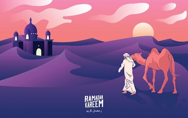 Een man reis met kamelen door de woestijn bij nacht in het welkom heten van ramadan kareem, vectorillustratie. -vector