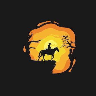 Een man rijdt op een paard op een klif-logo
