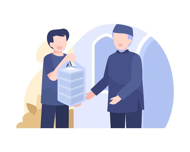 Een man schenkt voedsel aan arme mensen