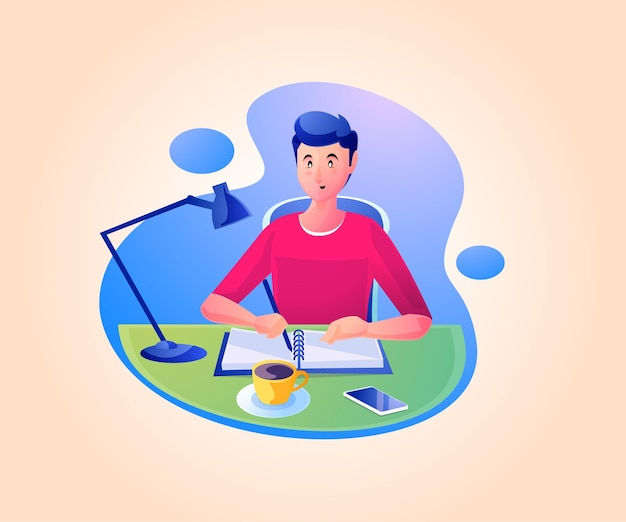 Een man schrijft werken aan een bureau