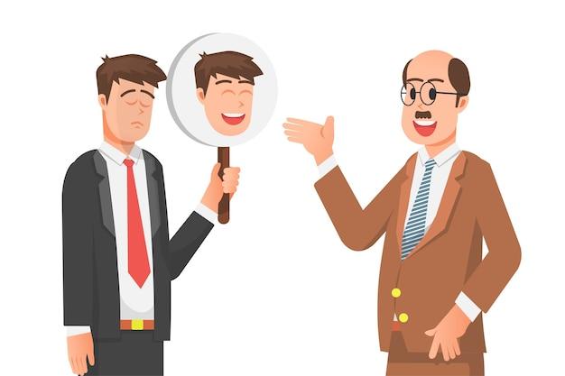 Een man trekt een nepgezicht voor zijn baas