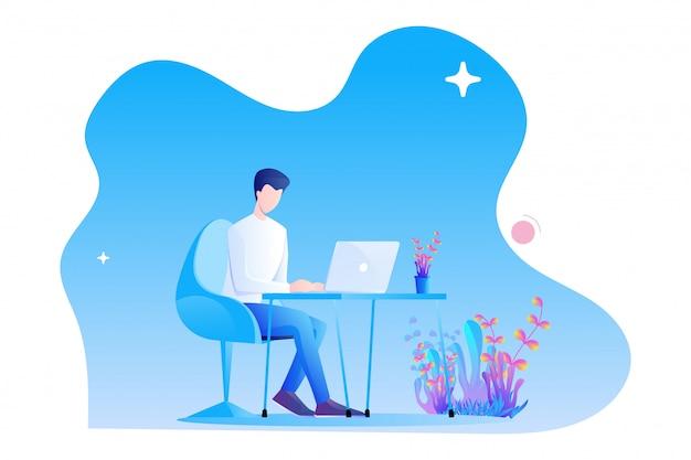 Een man werkt aan een bureau met zijn laptop. modern, plat karakterontwerp