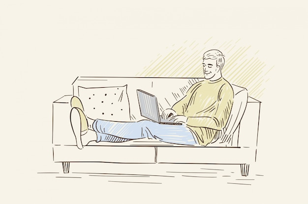 Een man werkt op een laptop. freelancer werkt thuis op de bank. illustratie in lineart stijl.