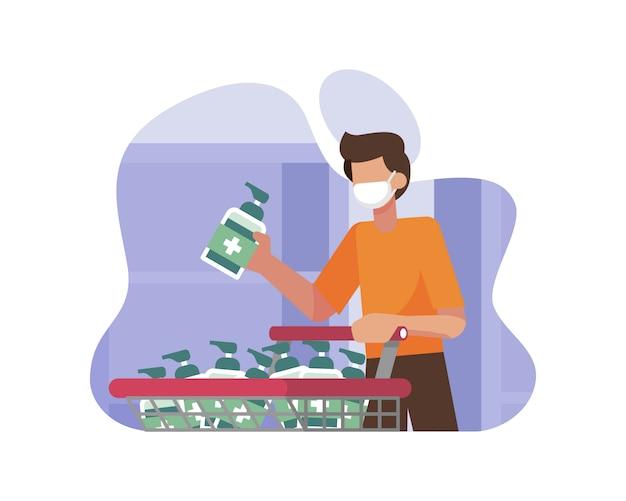 Een man winkelen en hamsteren handdesinfecterende middelen tijdens een coronavirus pandemie