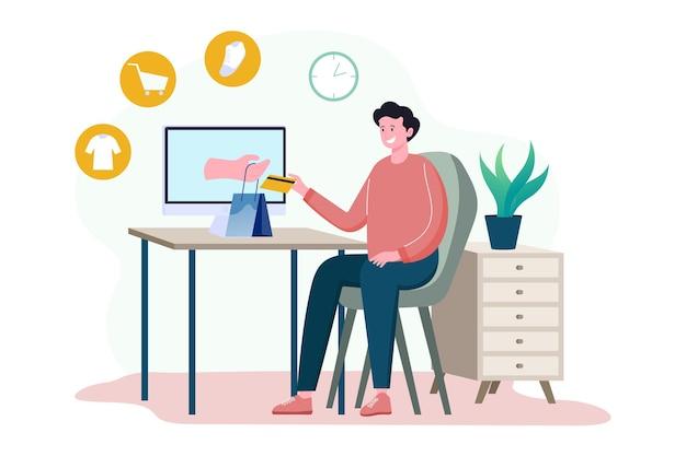 Een man zit achter een computer die online aankopen doet op het web, online winkelt
