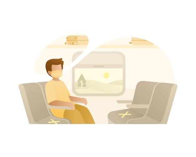 Een man zit alleen in de trein met een gezichtsmasker illustratie