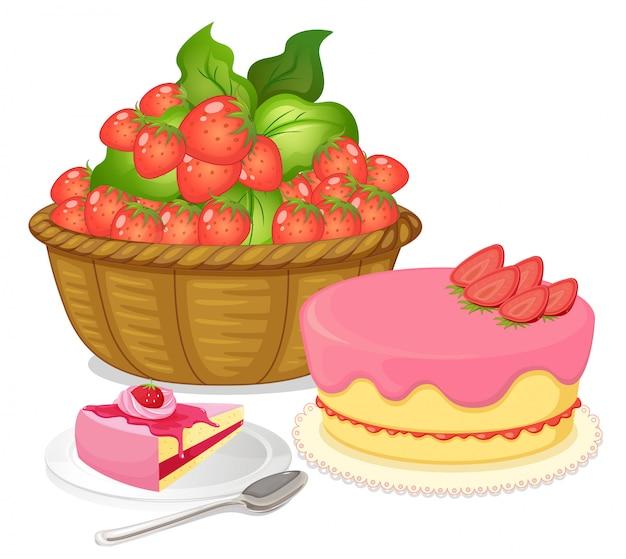 Een mand met aardbeien en een cake met aardbeiensmaak