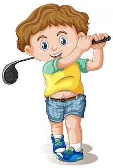 Een mannelijk golfer personage