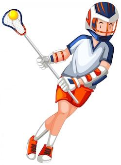 Een mannelijk hockeykarakter