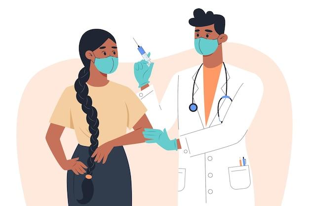 Een mannelijke arts met een masker en handschoenen maakt een vaccin voor een vrouwelijke patiënt