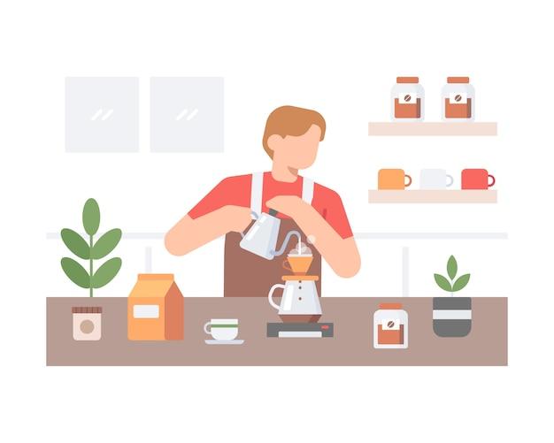 Een mannelijke barista maakt thuis koffie