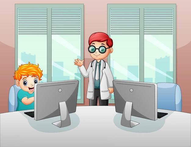 Een mannelijke dokter op kantoor