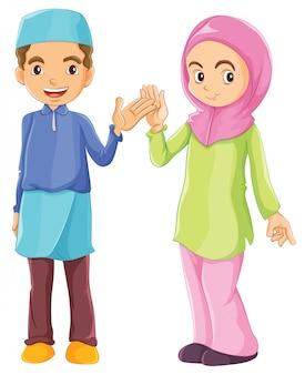 Een mannelijke en een vrouwelijke moslim