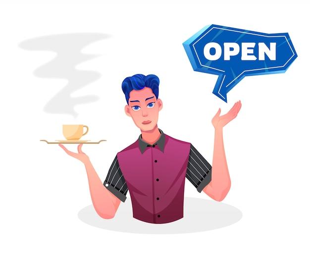 Een mannelijke ober opent een winkel