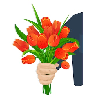 Een mannenhand geeft een mooi boeket van dieprode tulpen